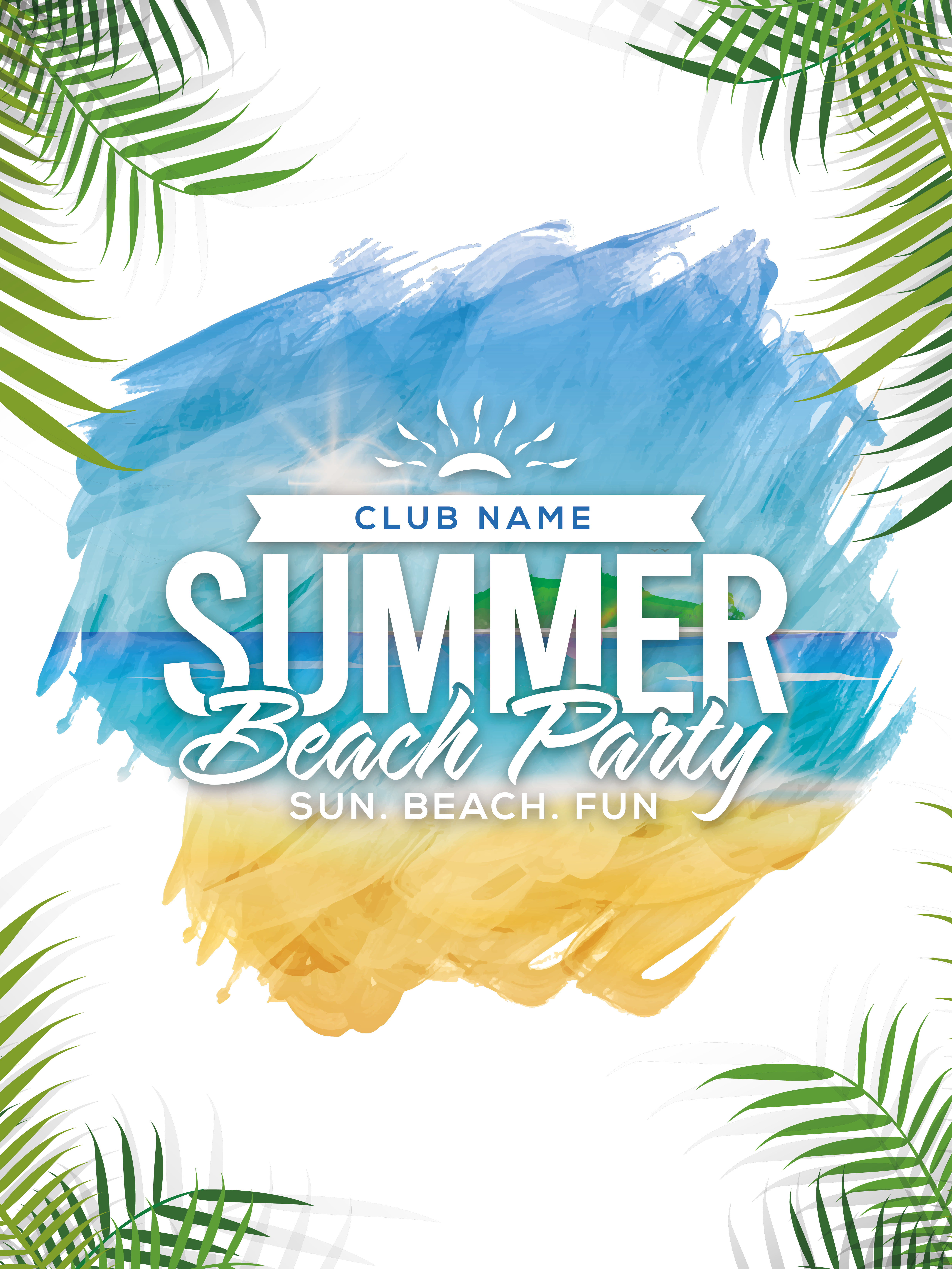 Summer Beach Party Poster PNG Image.