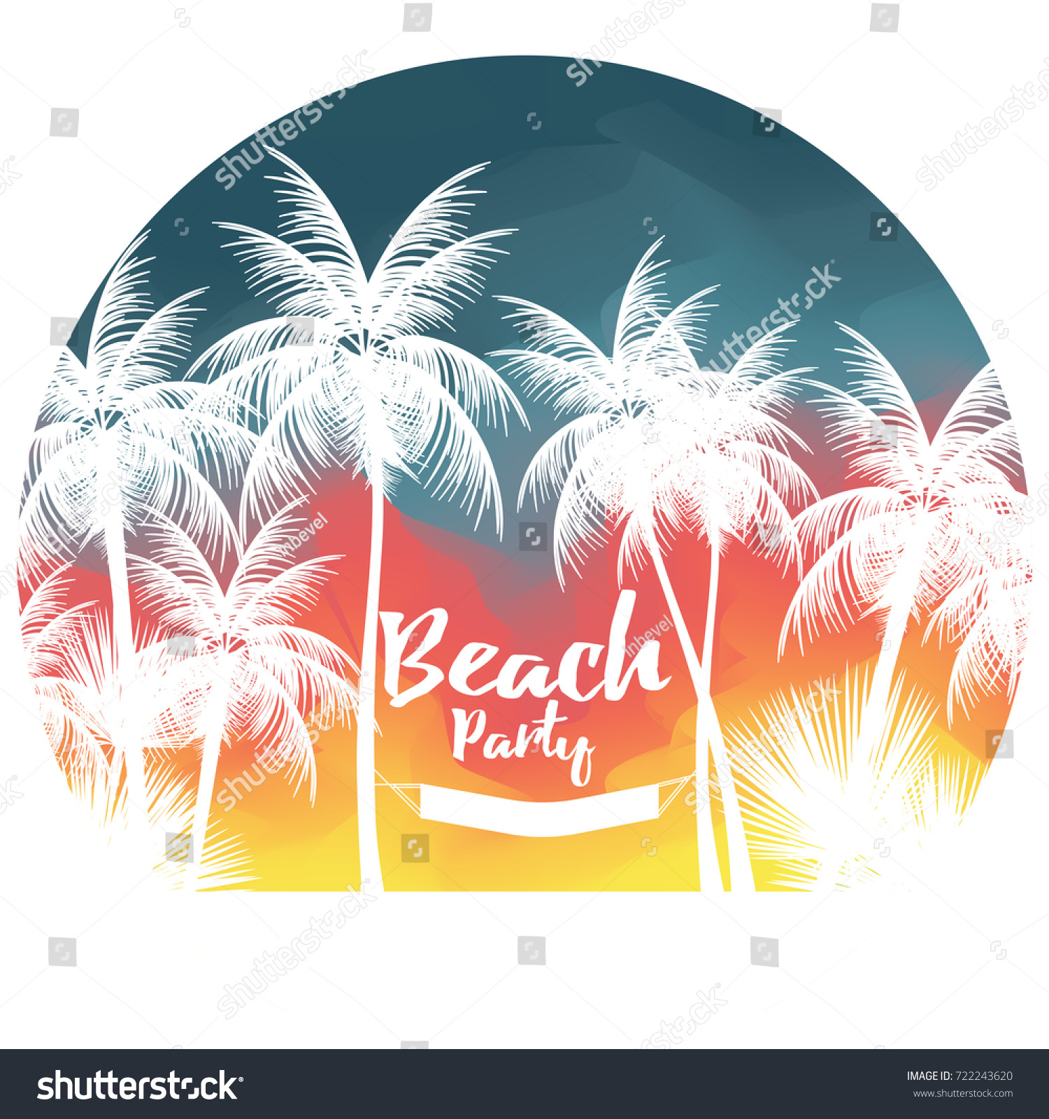 Tropical Summer Beach Party Poster Palm Stock Vector (Royalty Free.