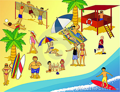 Beach People Clipart.