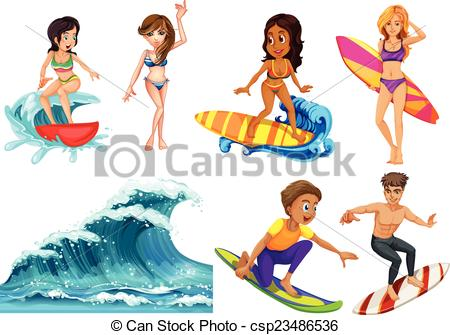 People at the beach clipart.