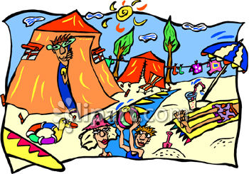 Cartoon Clipart Picture of People Playing at the Beach.