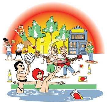 Beach with people clipart.
