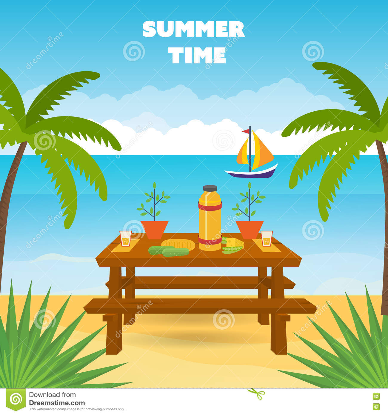 Summer Picnic. Table With Food And Drink. Stock Vector.