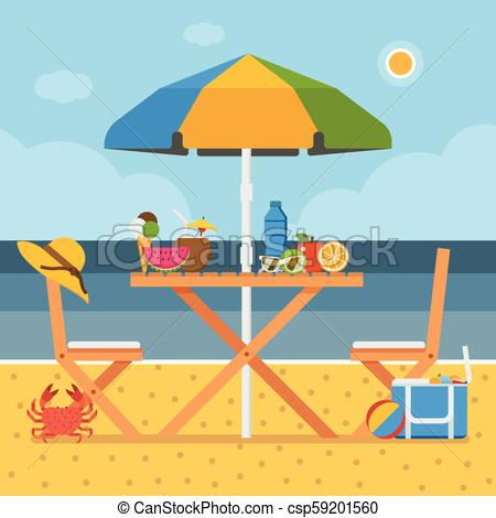 Summer Beach Picnic Table.