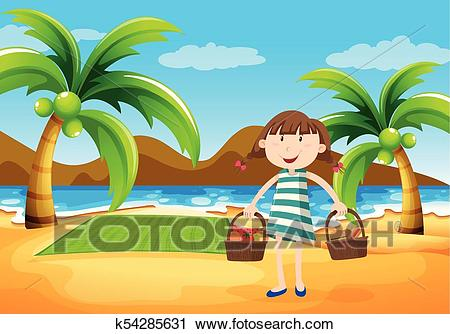 Girl having picnic on the beach Clipart.