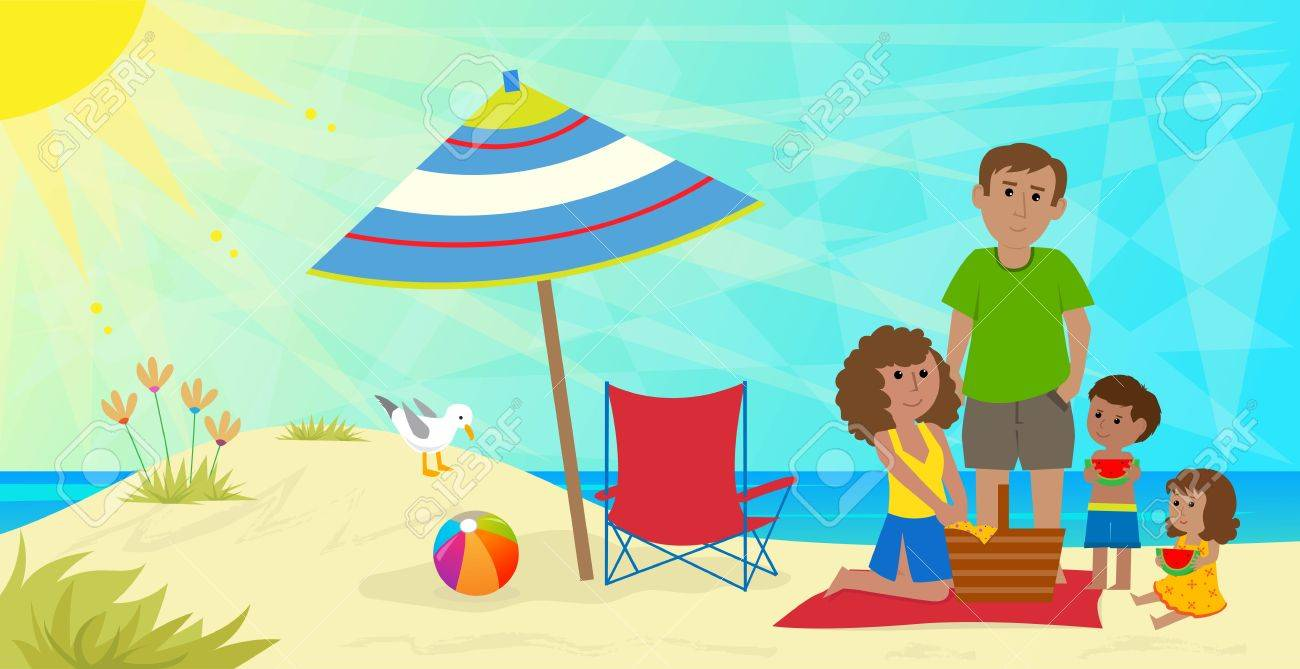 Real People Having A Picnic On The Beach Clipart & Free Clip Art.