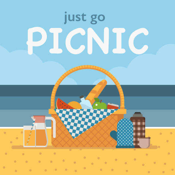 Best Beach Picnic Illustrations, Royalty.