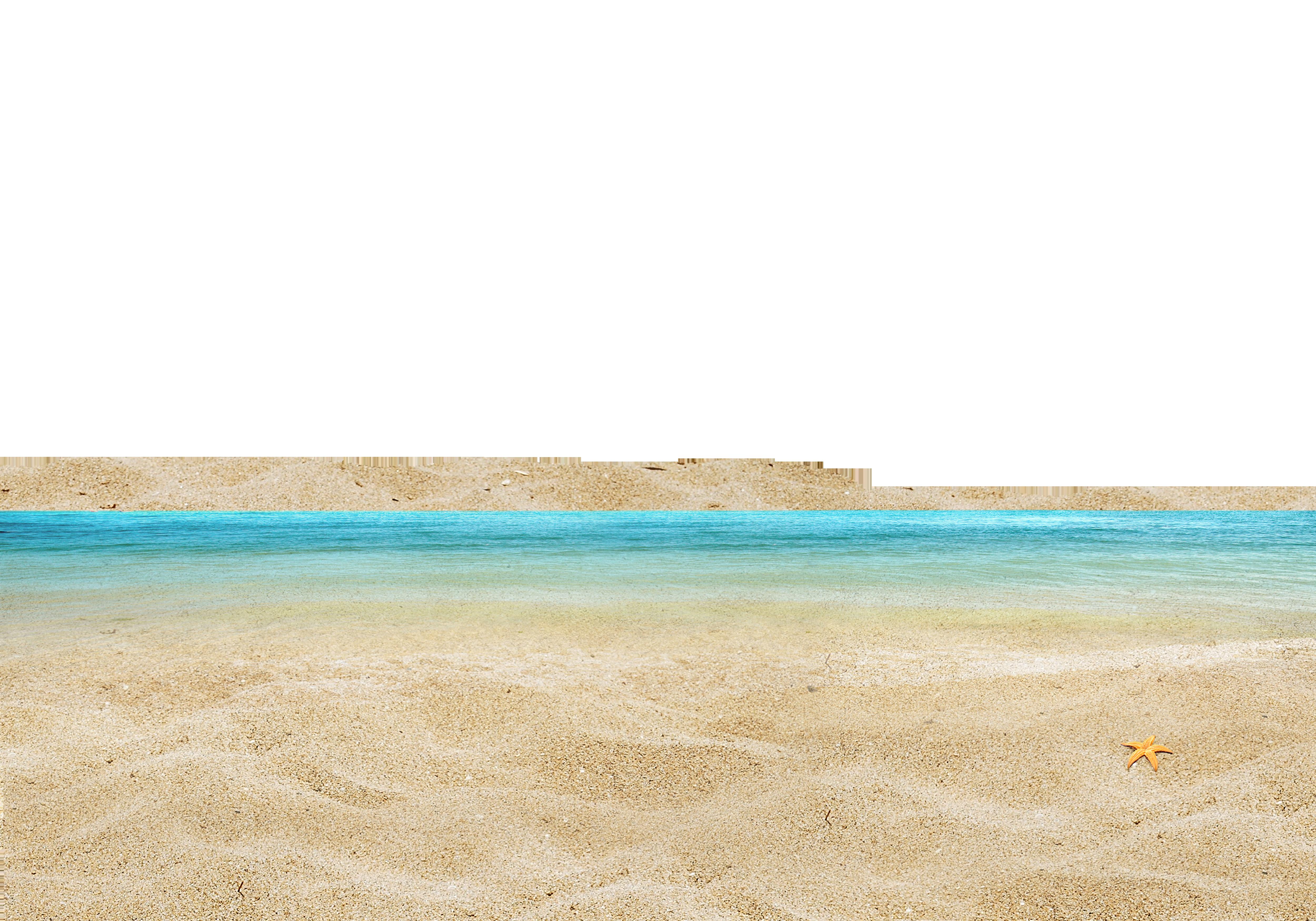 Sea with Star Fish at the Shore PNG Image.