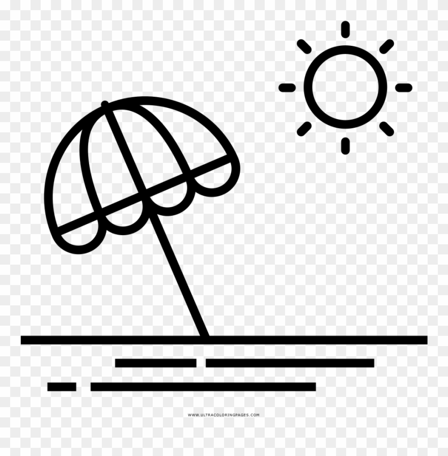 Beach Umbrella Coloring Page.