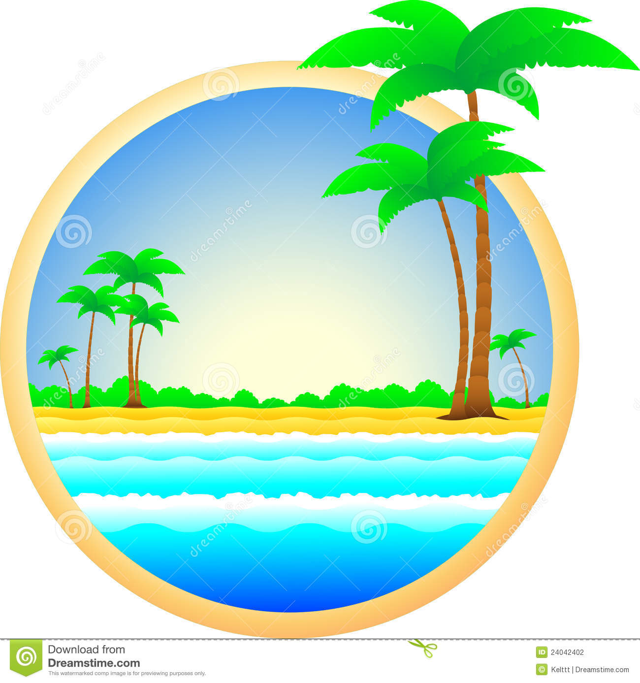Symbol Of Sea Resort Palm Trees And Sand Stock Photography.