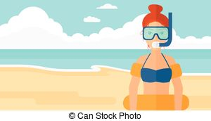 EPS Vectors of Cartoon woman in robe with eye mask on the beach.