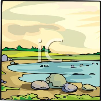 Picture of a Pond With Rocks, Sand, and Green Land In a Vector.