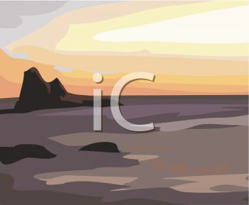 Picture of a Beach With Rocks In the Ocean At Sunset In a Vector.
