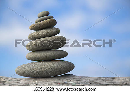 Pictures of A pile of balancing smooth beach rocks near Rialto.
