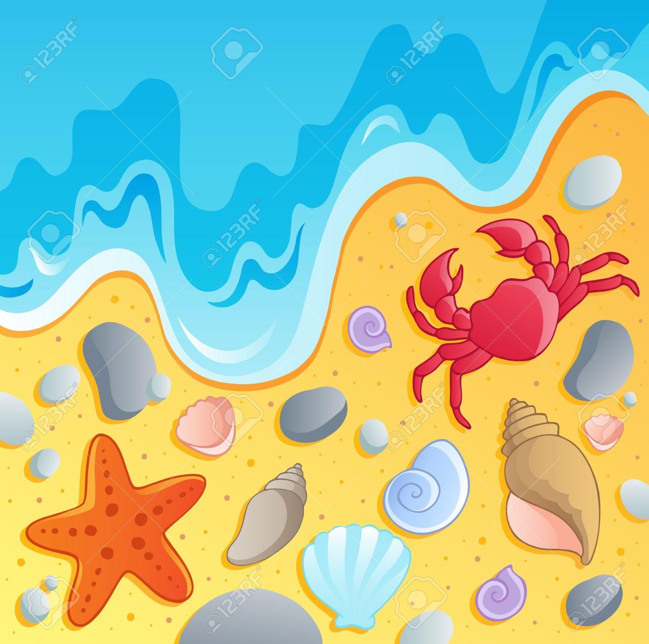 Seashells on the beach clipart.