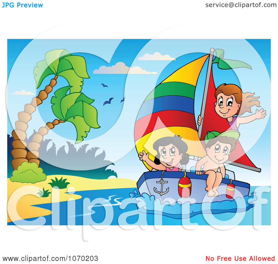 Clipart Kids Sailing By A Tropical Beach