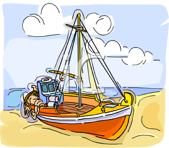 Fishing Boat on the Beach.