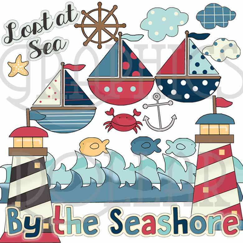 Fishing Clip Art, Beach Clip Art, Sailing Graphics.