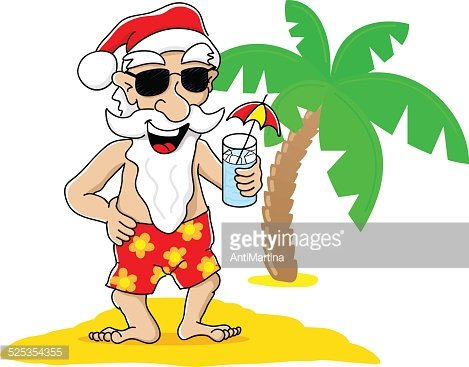 Santa Claus AT Christmas ON Vacation AT The Beach premium clipart.