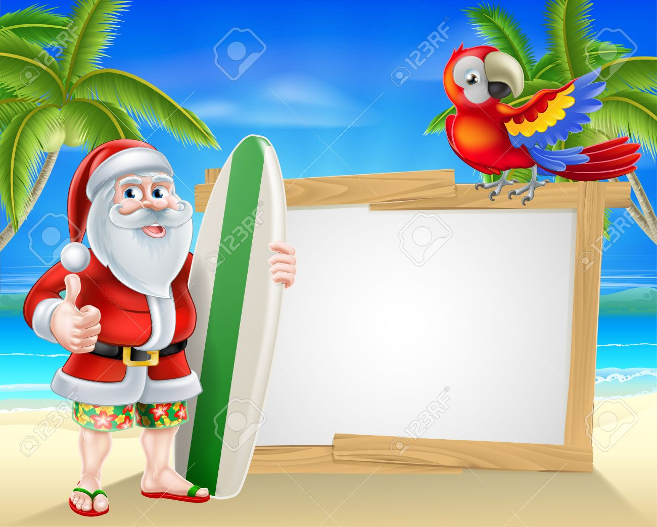 Cartoon of Santa Claus holding a surf board and giving a thumbs...