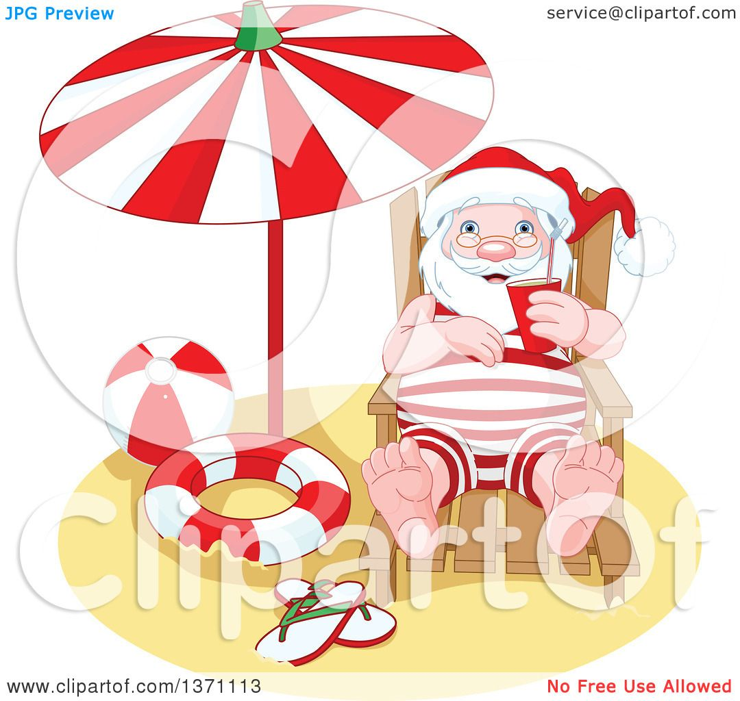 Clipart of a Relaxed Happy Santa Claus Taking a Beach Vacation After.