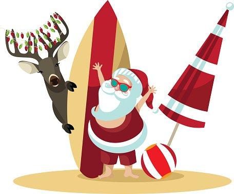 Cartoon Santa Claus Waves Hello from The Beach premium clipart.