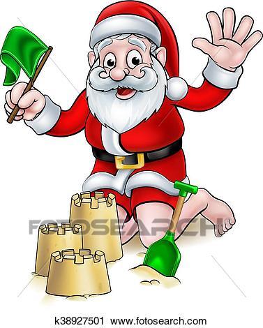 Christmas Cartoon Santa on Beach Clipart.