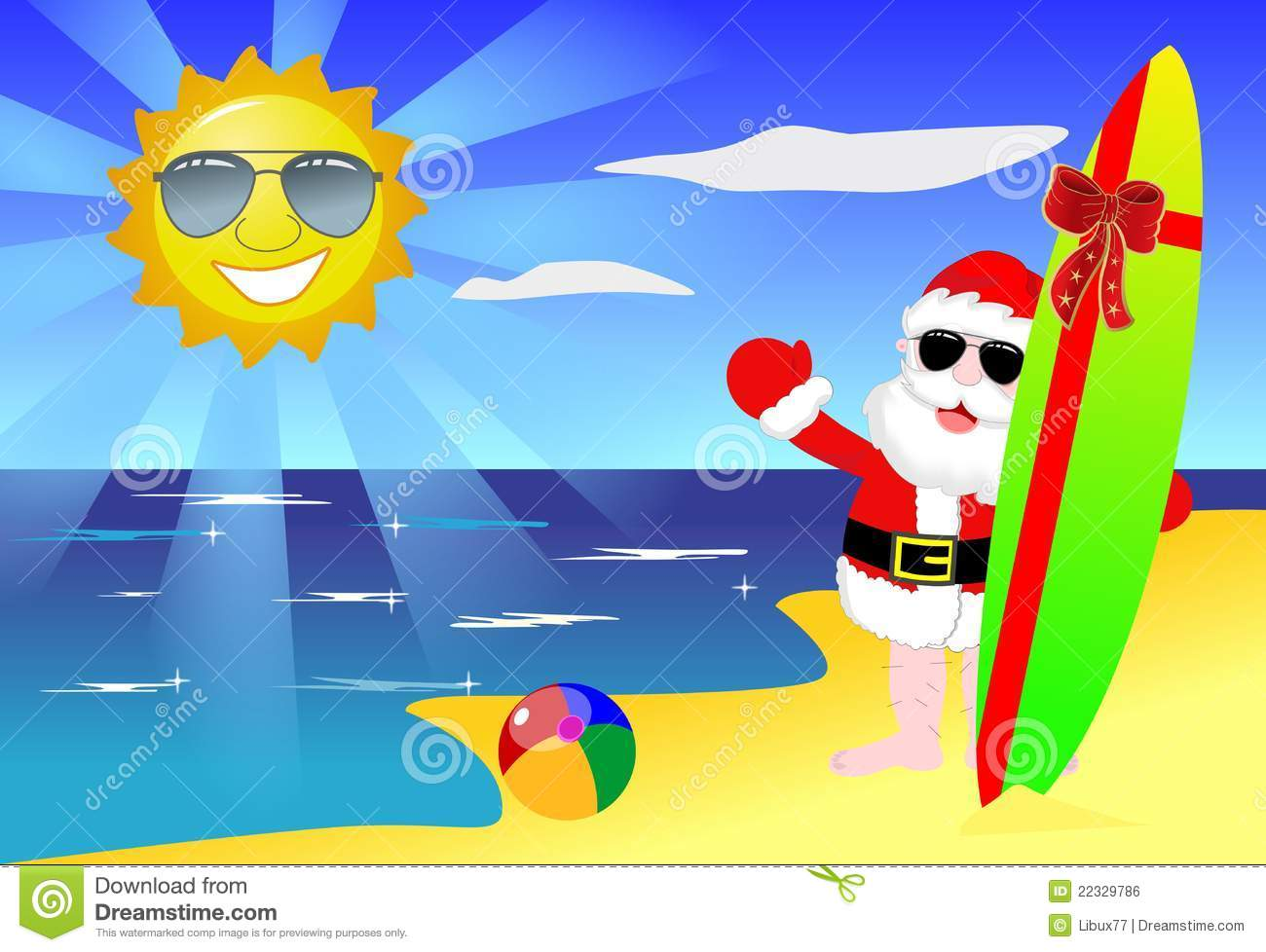 Christmas Santa Claus Tropical Beach Surfboard Stock Illustration.