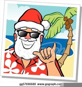 Santa Claus At The Beach Clipart.