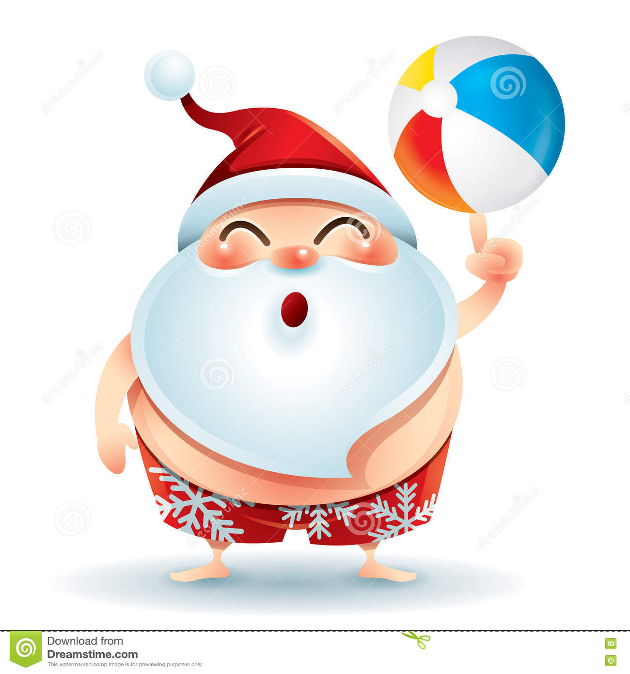 Santa Claus In Swimsuit With A Beach Ball Stock Vector.