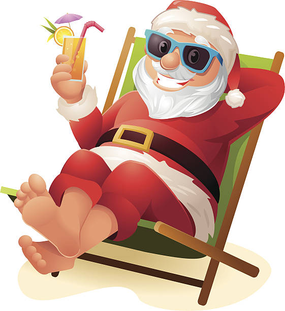 Royalty Free Santa Claus On Beach Clip Art #138482.