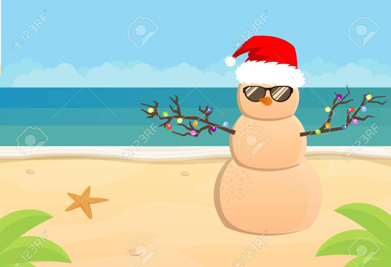 Snowman Santa Claus on a sandy tropical beach, flat illustration.