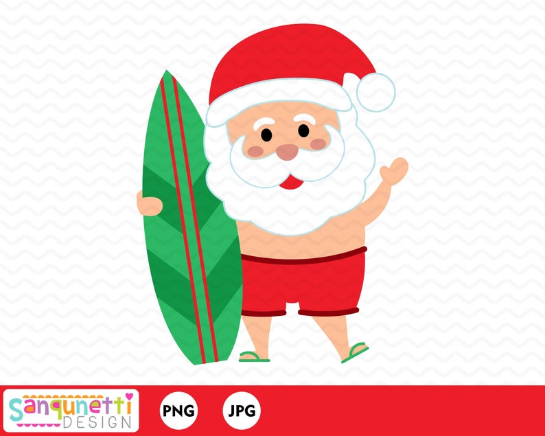 Beach Christmas Santa Clipart, summer Santa graphic instant download.