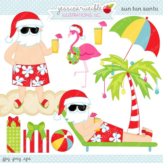 Sun Tan Santa Cute Digital Clipart.