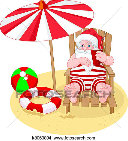 Santa Claus relaxing on the beach Clipart.