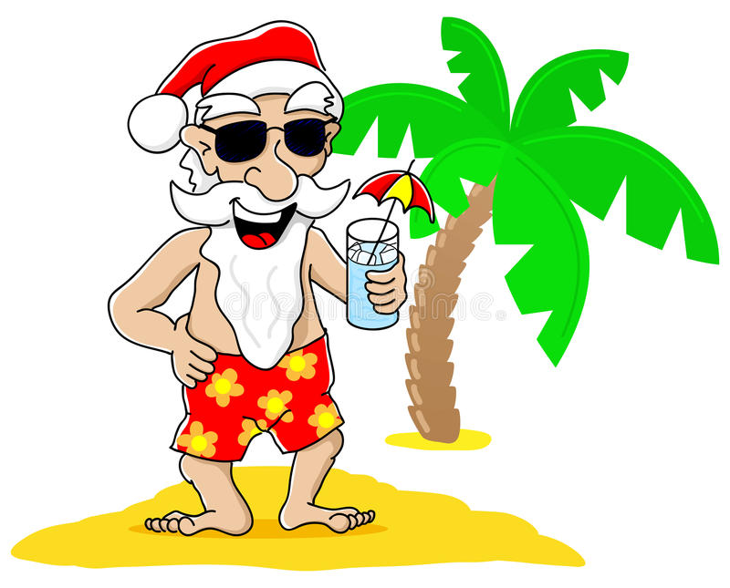 Christmas Santa Beach Stock Illustrations.