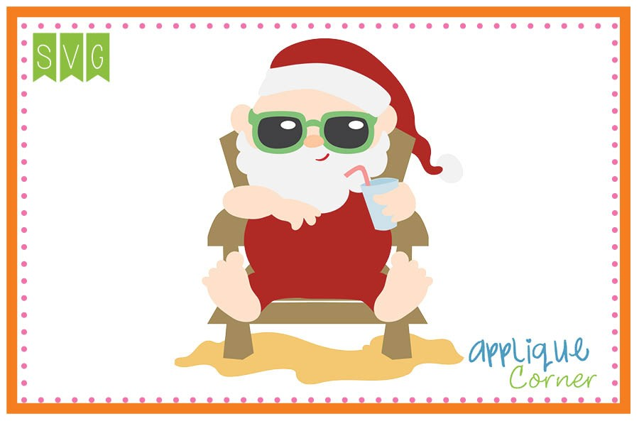 Applique Corner Christmas Santa at the Beach Cuttable SVG Clipart.
