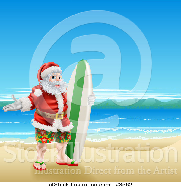 Vector Illustration of a Surfer Santa on a Beach by.