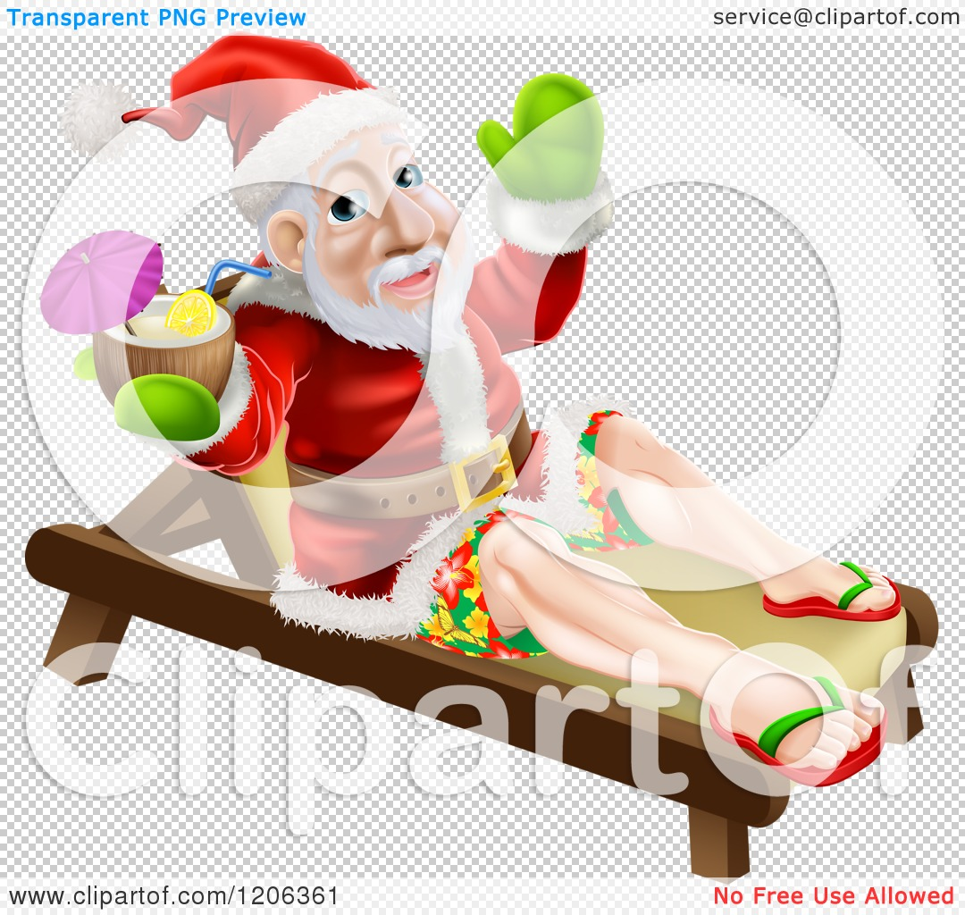 Cartoon of a Relaxed Santa Holding a Cocktail on a Beach Lounge.