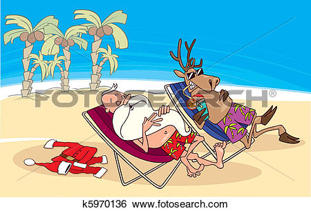 Clip Art of santa and reindeer having a rest on the beach k5970136.