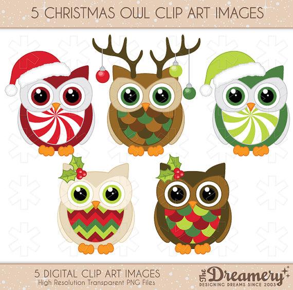 5 Christmas Owl Clip Art Images.