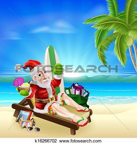 Clipart of Christmas Santa Tropical Beach Scene k16266702.