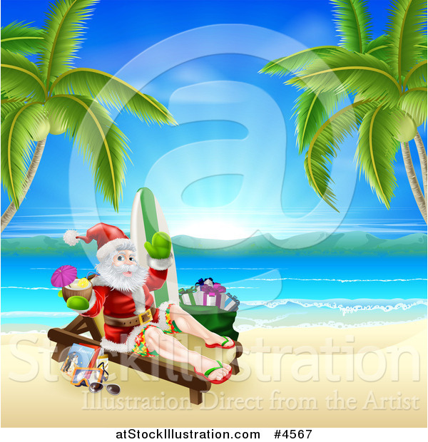 Vector Illustration of Santa Holding a Cocktail and Sun Bathing on.