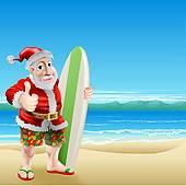 Clipart of Santa Running On A Beach k5153644.