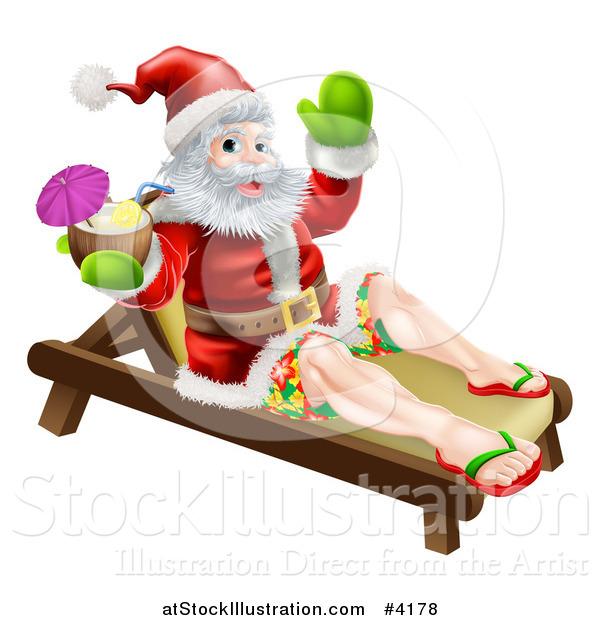 Vector Illustration of Santa Waving in Surf Shorts and Drinking a.