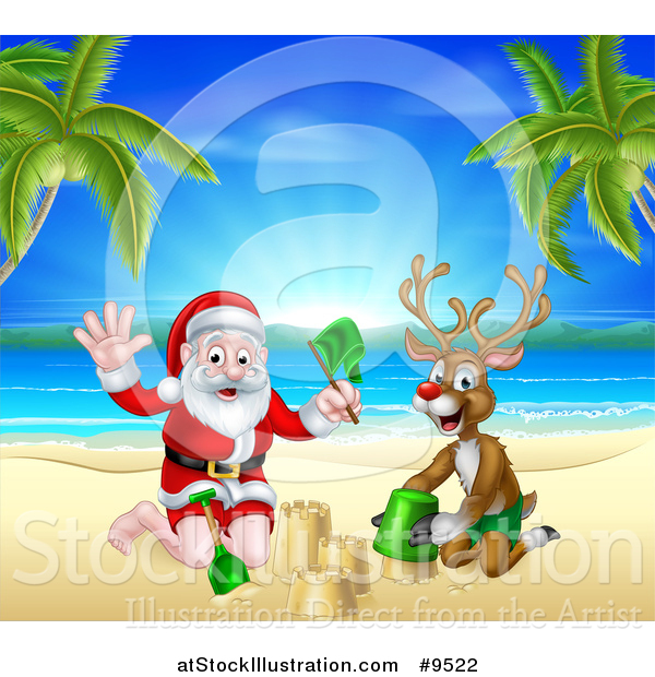Vector Illustration of a Rudolph Red Nosed Reindeer and Santa.