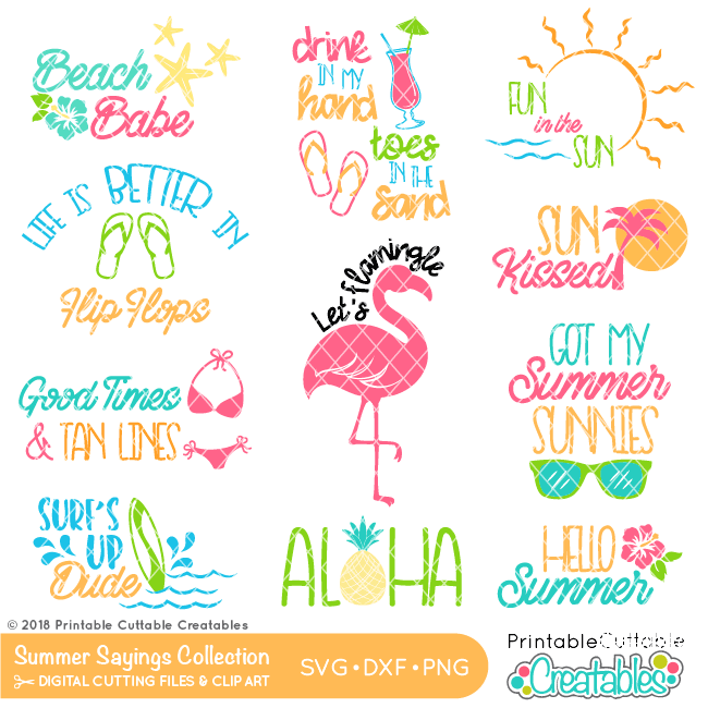Summer Sayings SVG Files Bundle for Cricut, Silhouette Cameo.