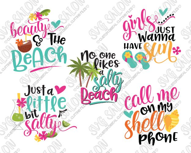 Girly Beach Bundle Cut File Set in SVG, EPS, DXF, JPEG, and PNG.