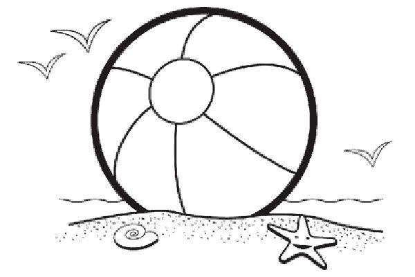 Beach black and white beach ball beach scene clip art.