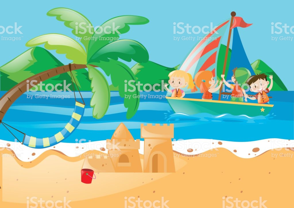 Beach Scene With Kids On The Sailboat Stock Illustration.